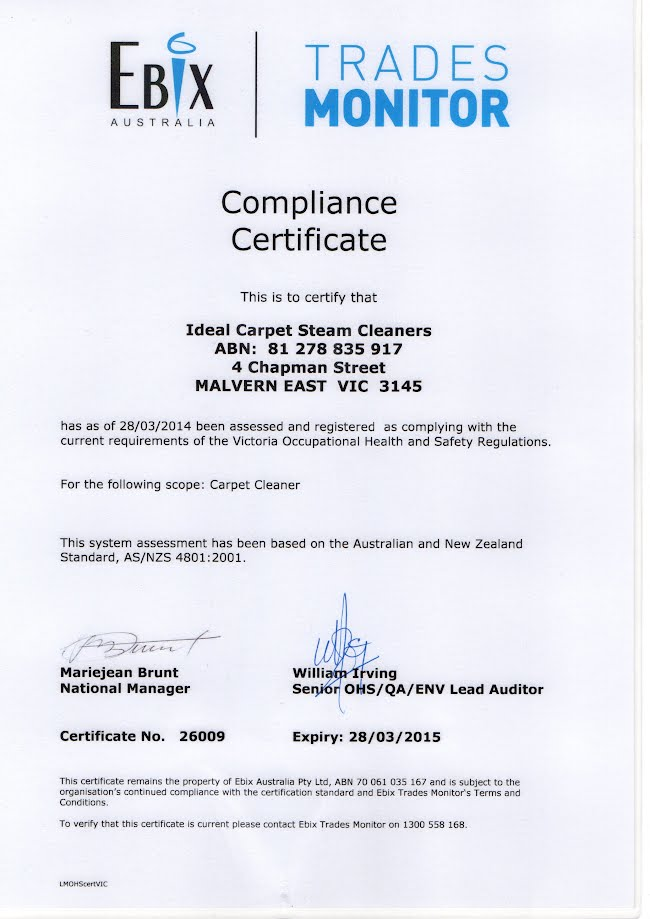 Compliance Certificate Ideal Carpet Cleaners